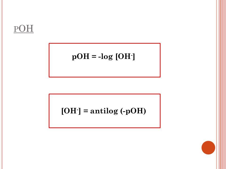 pOH = -log [OH-] [OH-] = antilog (-pOH)